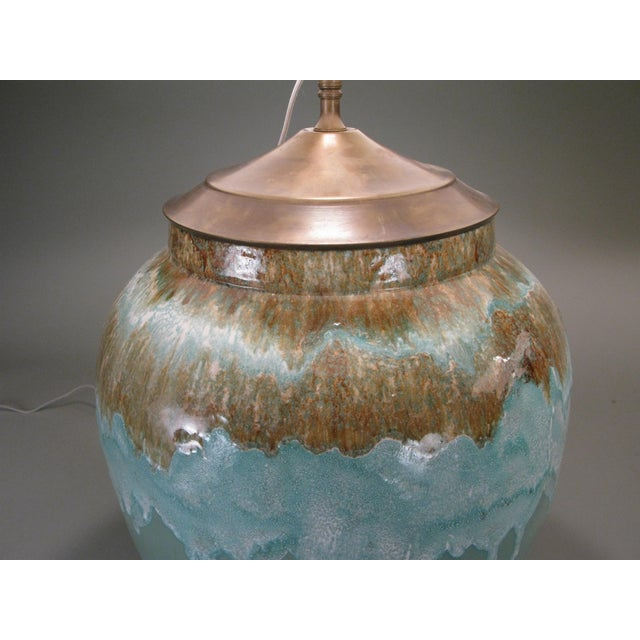 Large 1960s Glazed Ceramic Lamps - a Pair For Sale - Image 4 of 7