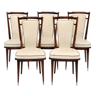 French Modernist Vinyl Dining Chairs For Sale
