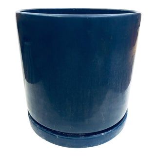 Mid-Century Modern Blue Gainey Ceramics Planter Pot & Saucer For Sale