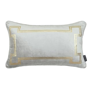 Contemporary Aria Cool Grey Velvet Lumbar Pillow With Gold Foil Accents For Sale