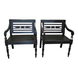 British Colonial Black Lightly Distressed Solid Mahogany Chairs - a Pair