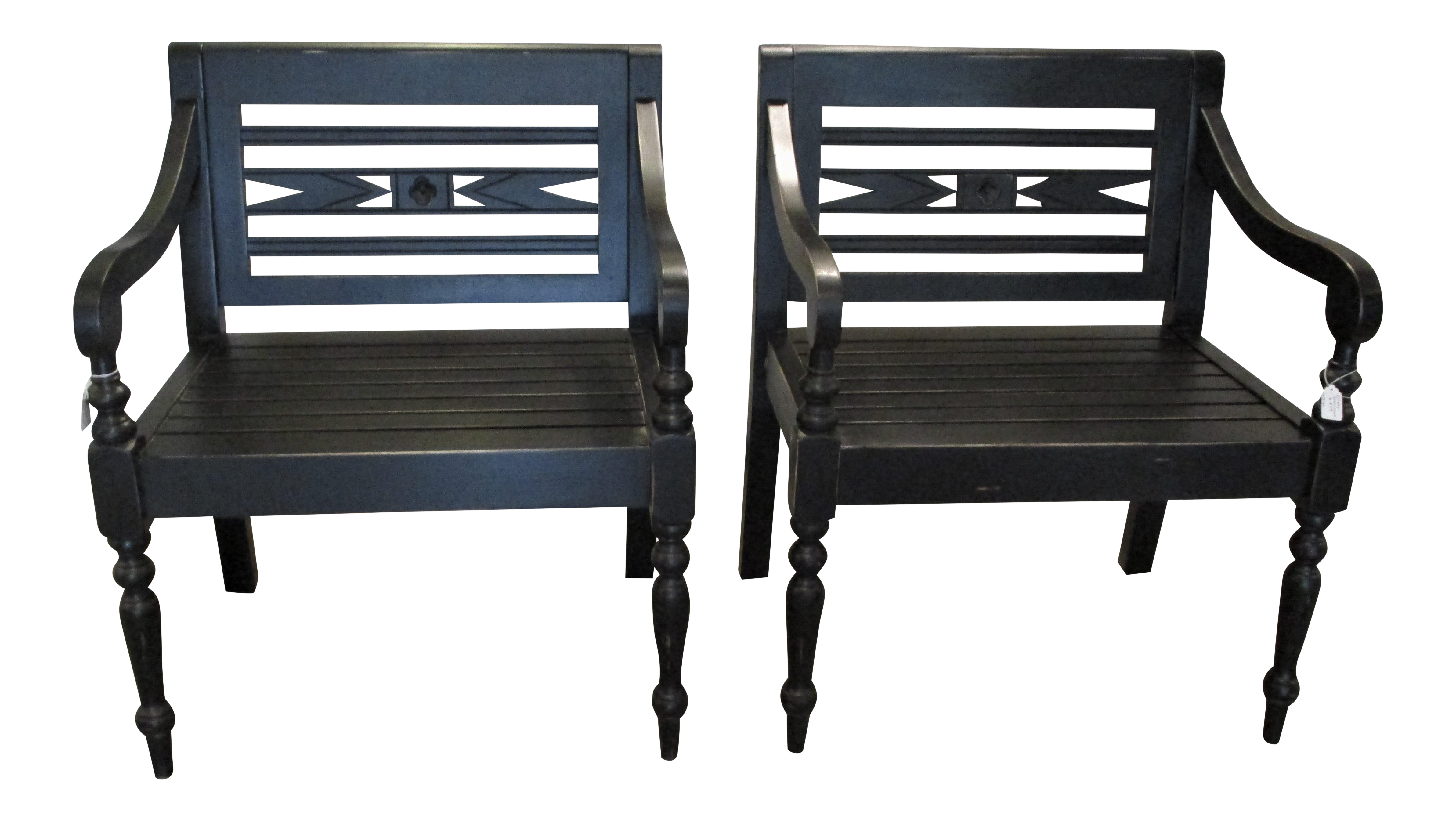 British Colonial Black Lightly Distressed Solid Mahogany Chairs   A Pair
