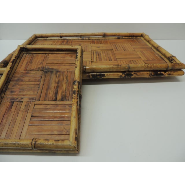Set of Two Faux Tortoise Bamboo Serving Trays For Sale - Image 4 of 7