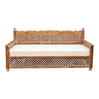 Whitewashed Mousharabi Club Daybed For Sale