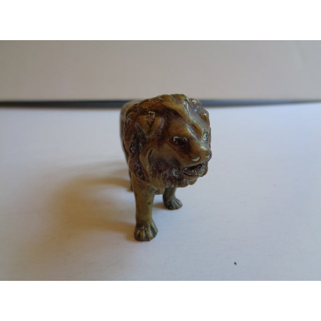Vintage Solid Brass Lion Paperweight Figurine - Image 3 of 5