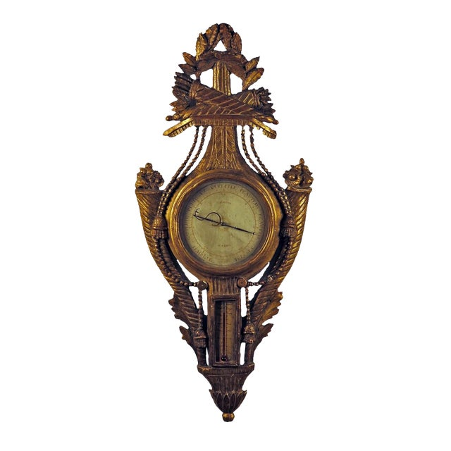 Late 18th Century Exceptional Louis XVI French Gilt Wood Barometer For Sale