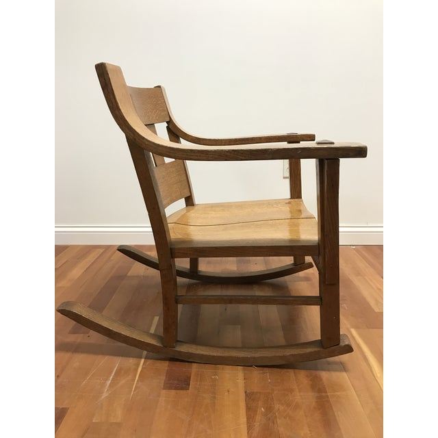 Early 20th Century Mission Style Arts and Crafts Bentwood Quarter Sawn Oak Rocker For Sale - Image 5 of 11