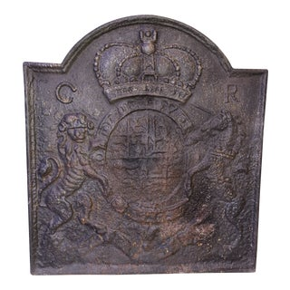 Late 19th Century Royal Coat of Arms Cast Iron Fireback by Thomas Elsey For Sale