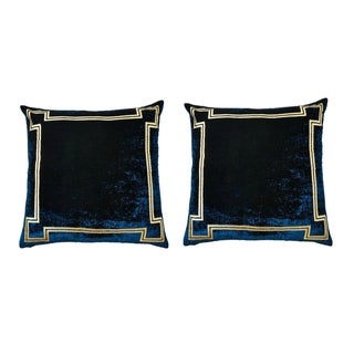 Navy and Gold Velvet Regency Pillows - Pair For Sale