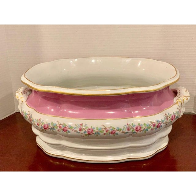 19th Century Pink Floral Porcelain Foot Bath, Attributed to Mintons For Sale - Image 4 of 12