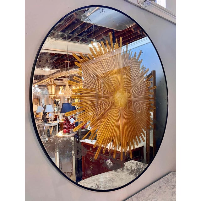 Art Deco Monumental Gilt Gold & Silver Glass Sunburst Mirrors or Table Top Pair For Sale - Image 3 of 13