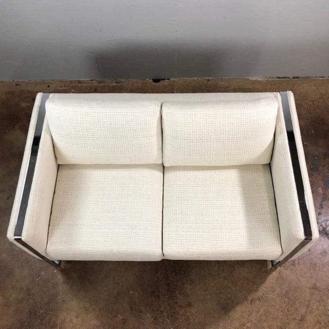 Chrome Mid Century Modern Milo Baughman Chrome Framed Love Seat For Sale - Image 7 of 11