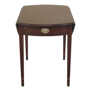 1990s Federal Henkel Harris Mahogany Drop Leaf Pembroke Table For Sale