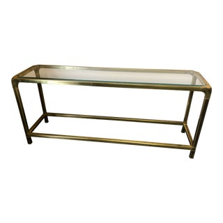 1970s Mid Century Modern Mastercraft Brass & Glass Console Table For Sale
