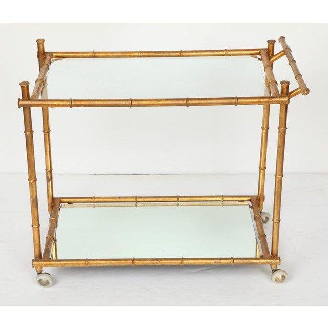 Glass Italian Gilt Iron Stylized Bamboo Serving / Bar Cart For Sale - Image 7 of 11