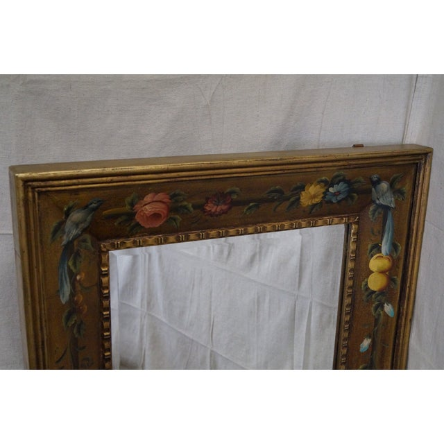 Glass Floral Hand Painted Gilt Frame Beveled Wall Mirror For Sale - Image 7 of 10