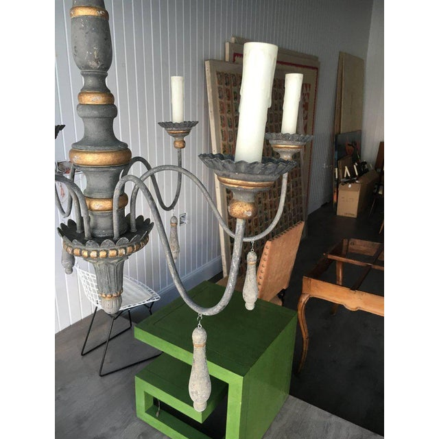 Gray Two Chic Six-arm Chandeliers in Lovely French Grey Finish, Gilt Accents For Sale - Image 8 of 10