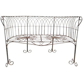 Italian Antique Wrought Iron Bench For Sale