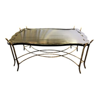 Chinoiserie Style Wood Tray Table With Faux Bois Metal Base Attributed to 'Dennis and Leen' For Sale
