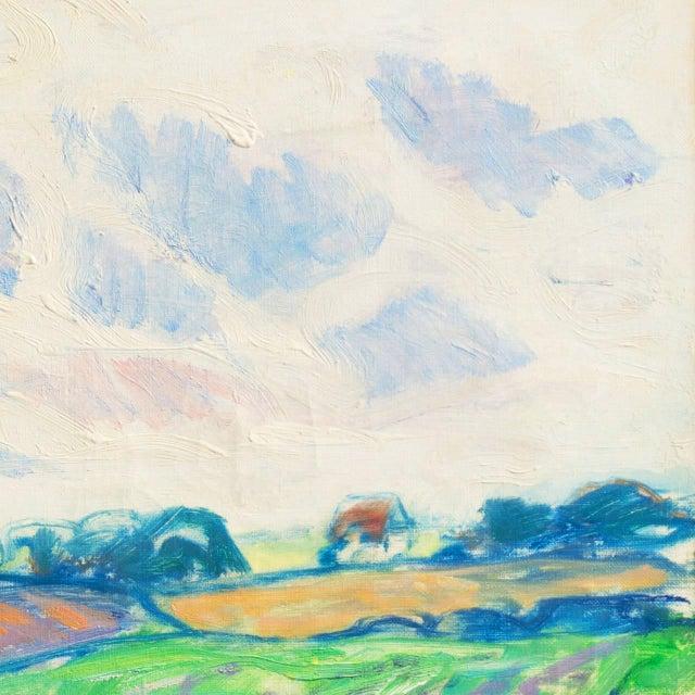 Canvas 'Sunlit Spring Landscape', by Ejnar Kragh, Paris, Danish Post Impressionist For Sale - Image 7 of 10