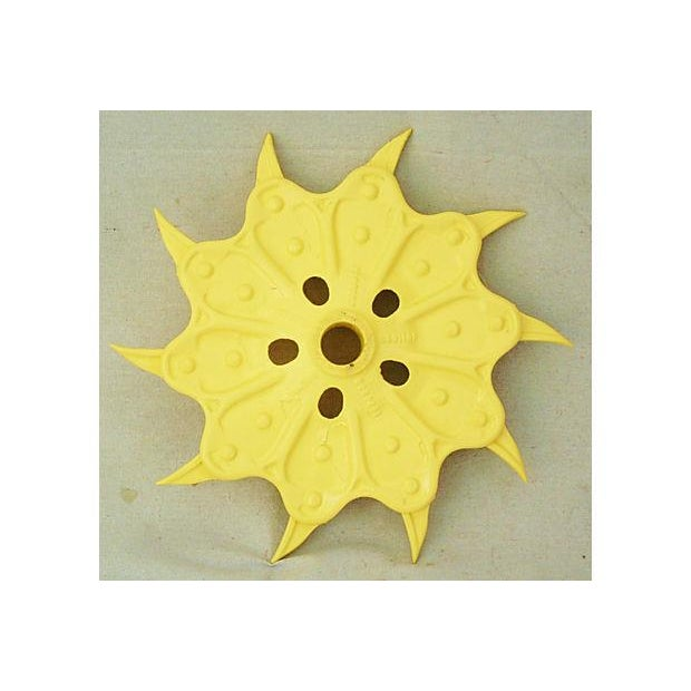 Vintage Yellow Industrial Iron Cultivator Wheel - Image 3 of 5