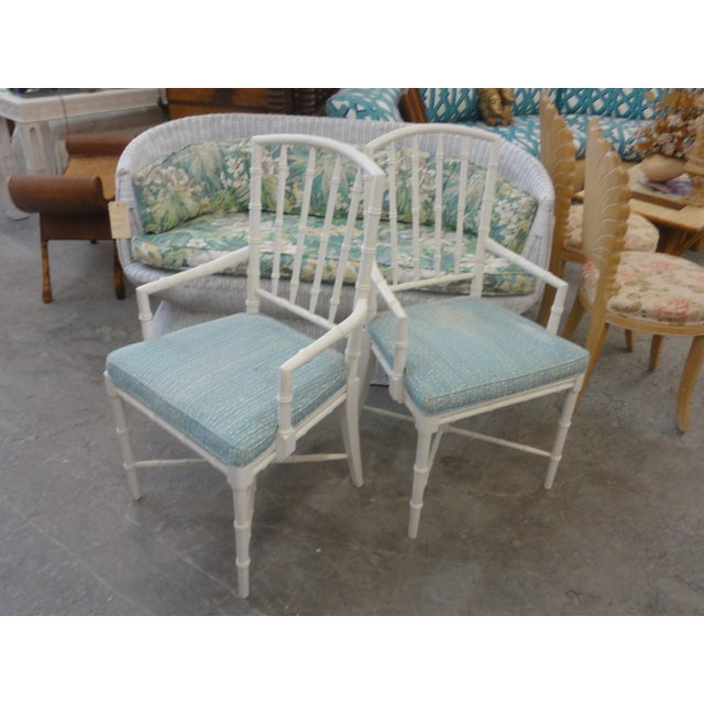 Mid-Century Modern Palm Beach Faux Bamboo Arm Chairs - a Pair For Sale - Image 3 of 10