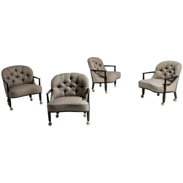 Textile Edward Wormley for Dunbar Janus Armchairs, Set of Four, 1950s For Sale - Image 7 of 7