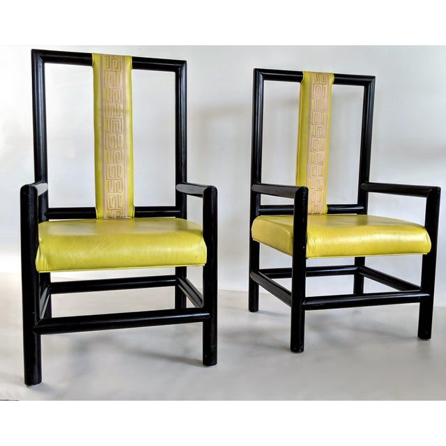 1980s 1980s Vintage Kelly Wearstler for the Viceroy Hotel High Back Arm Chairs - a Pair For Sale - Image 5 of 13