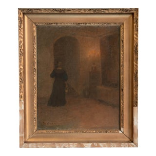 Early 20th Century Antique Woman in Hallway Original Oil on Canvas Painting For Sale