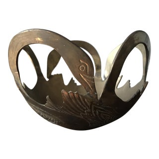 Solid Brass Carved Swan Bowl