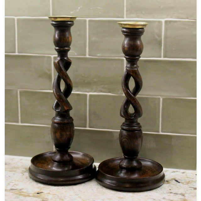 "English Antique English Oak Open Barley Twist Candlesticks Candle Holders Tall 12"" Tall - a Pair For Sale - Image 3 of 11"