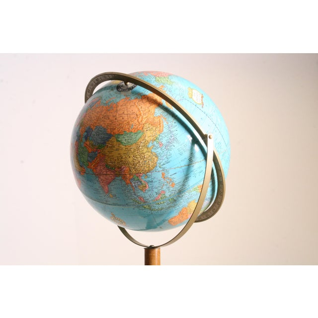 Vintage Revolving World Globe with Wood Pedestal Stand For Sale - Image 9 of 11