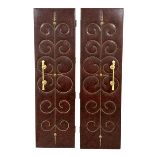 Studded Hollywood Regency Doors - A Pair For Sale