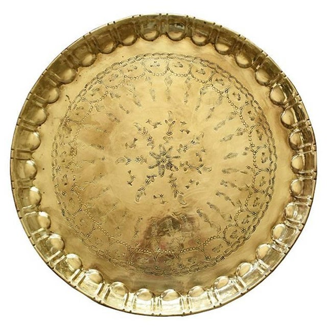 Early 20th Century Moroccan Round Hammered Brass Tea Tray For Sale - Image 4 of 6