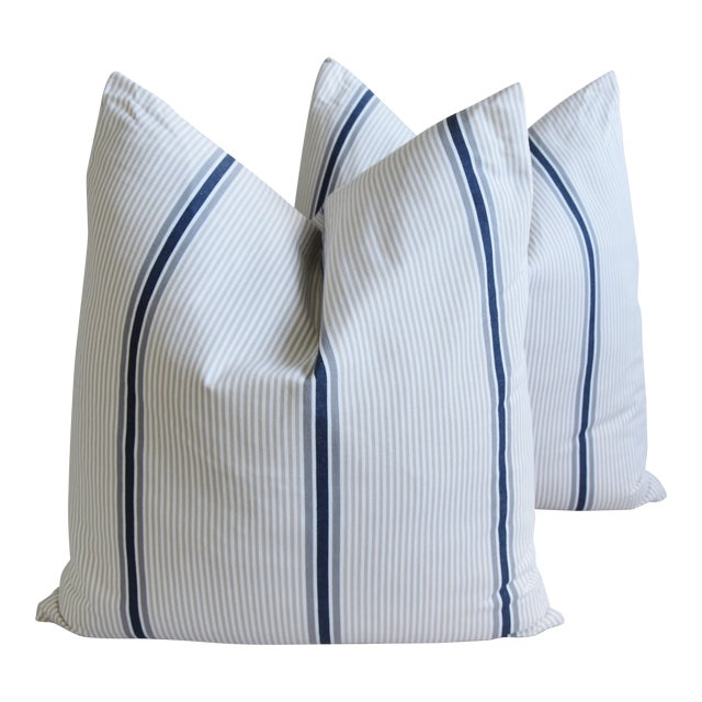 """French Blue/Gray/Tan/White Striped Ticking Feather/Down Pillows 23"""" Square - Pair For Sale"""
