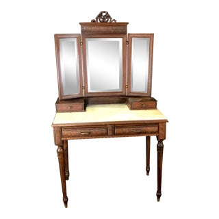 French Walnut Carved Dressing Table With Carrera Marble Top For Sale