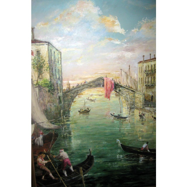 Late 20th Century Valerio Zerbo San Marco Piazza Large Oil Painting For Sale In Savannah - Image 6 of 12