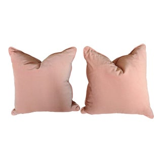 A Pair- Custom Pale Peach Velvet Double Sided Throw Pillows For Sale