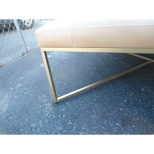 Mid-Century Modern Tufted Square Charme Tan Leather Ottoman W/ Gold Legs For Sale - Image 3 of 5