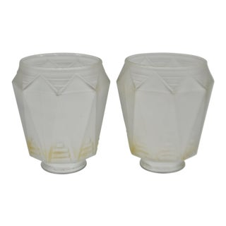 Vintage Geometric Frosted Glass Shades - a Pair For Sale