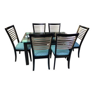 Bassett Glass Dining Set - 7 Pieces For Sale