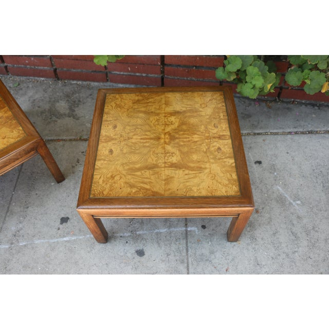1960s Mid-Century Modern Henredon Burlwood Low Side Tables - a Pair For Sale In Los Angeles - Image 6 of 8