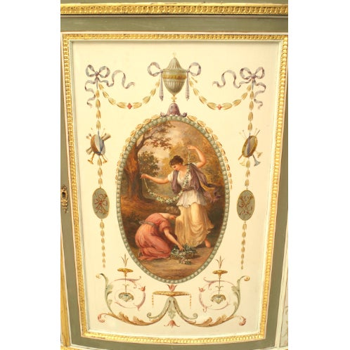An Finely Painted 19th Century English Adam Style Two Door Cabinet For Sale - Image 4 of 6