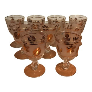Libbey Starlyte Gold Leaf Water Goblet Glasses - Set of 9