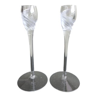 Lenox Crystal Swirl Design Candlesticks - a Pair