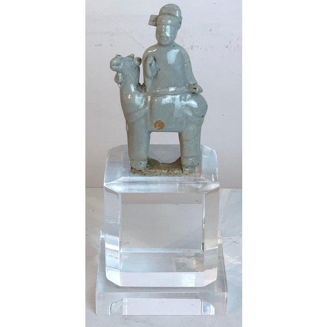 Tan Song Dynasty Chinese Celadon Porcelain Horse and Rider on Later Lucite Pedestal For Sale - Image 8 of 13