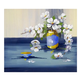 White Dogwood Still Life Painting For Sale