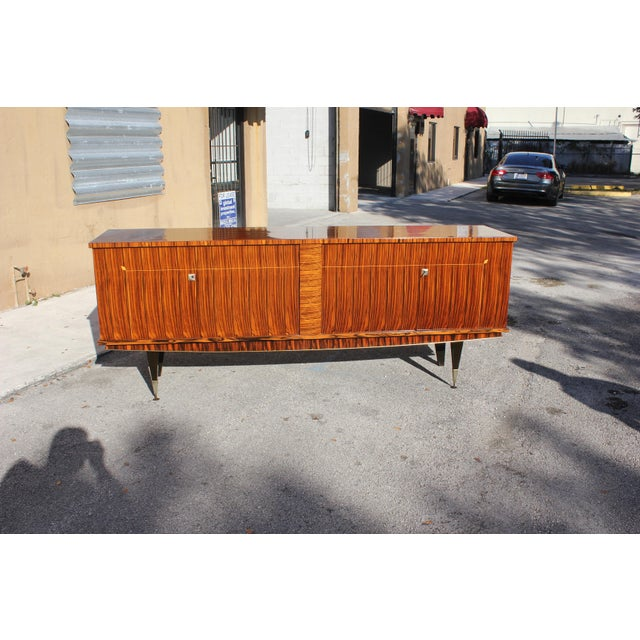 Gold 1940sArt Deco Exotic Macassar Ebony Sideboard / Buffet For Sale - Image 8 of 13