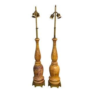 Pair of Marble Table Lamps Hollywood Regency Style With Original Shades For Sale