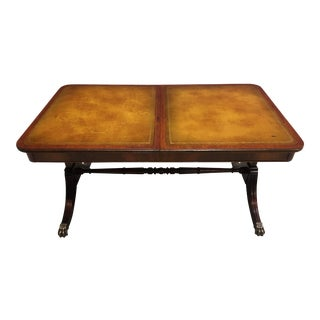Early 20th Century Leather Slide-Top Mahogany Coffee Table Manner of Kittinger For Sale